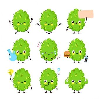 Collection de jeux de bourgeons de marijuana joyeux, souriants, joyeux et heureux.