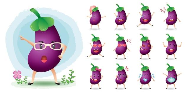 Collection de jeux de caractères d'aubergines mascotte mignonne