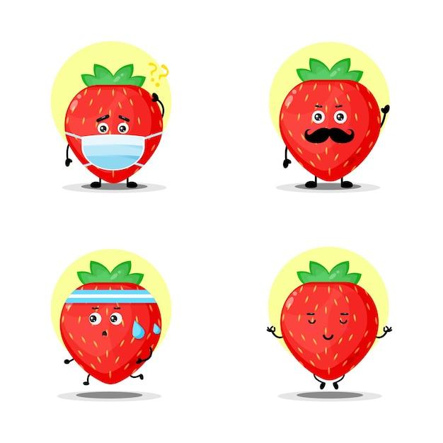 Collection de jeux de caractères aux fraises mignons
