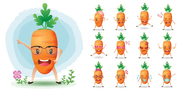 Collection de jeux de caractères de carotte mascotte mignonne