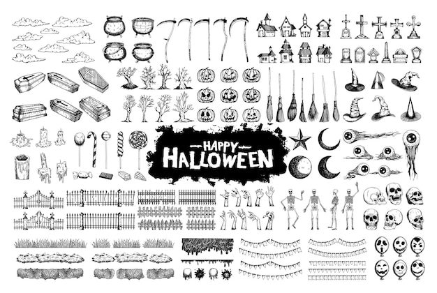 Collection de jeux de caractères dessinés à la main halloween pour la célébration, le modèle et la décoration