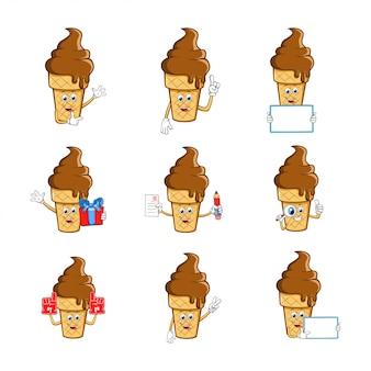 Collection de jeux de caractères de mascotte de dessin animé de crème glacée
