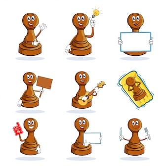 Collection de jeux de caractères de mascotte de dessin animé de pion