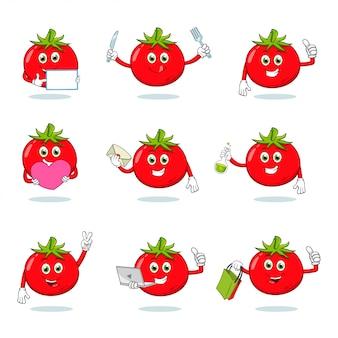 Collection de jeux de caractères de mascotte de dessin animé de tomate