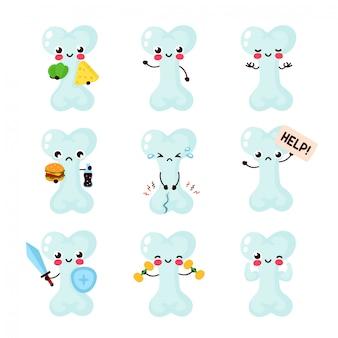 Collection de jeux de caractères mignons sains mignons santé heureux triste et malsains. concept de personnage bones