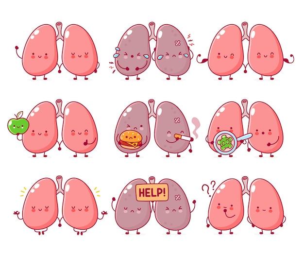 Collection de jeux de caractères d'organes de poumons humains drôles mignons