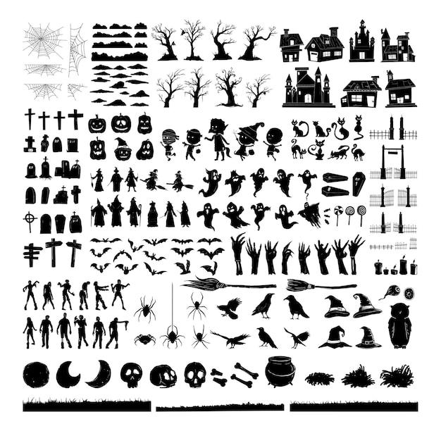 Collection de jeux de caractères silhouette halloween pour la célébration, le modèle et la décoration