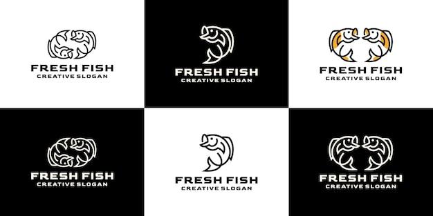 Collection de jeux créatifs de ligne rétro aquatique de poisson frais pour le logo d'entreprise