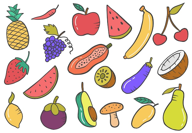 Collection de jeux de fruits doodle collection de jeux dessinés à la main avec illustration vectorielle de contour plat style