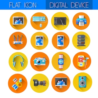 Collection de jeux d'icônes de périphériques numériques