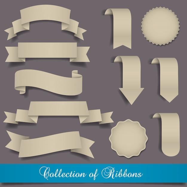 Collection de jeux de rubans et étiquettes rétro