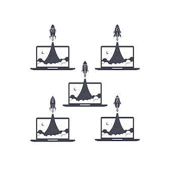 Collection de jeux de vecteur de fusée portable ordinateur portable
