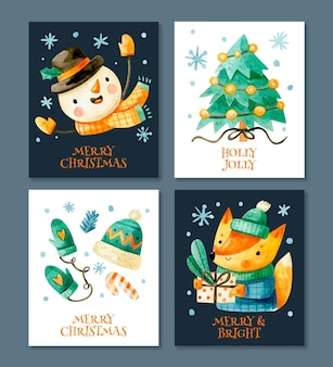 Collection de jolies cartes de noël aquarelle