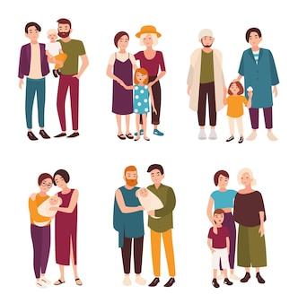 Collection de jolis couples gays et lesbiens debout avec leurs enfants. familles homosexuelles heureuses avec enfants. personnages de dessins animés plats isolés sur fond blanc. illustration vectorielle.