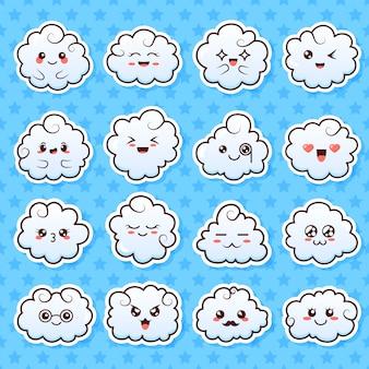 Collection de jolis nuages kawaii mignons. doodle dessin animé nuages avec des visages dans un style manga.
