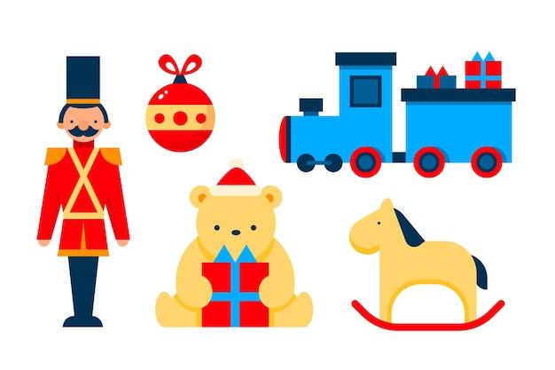 Collection de jouets de noël au design plat
