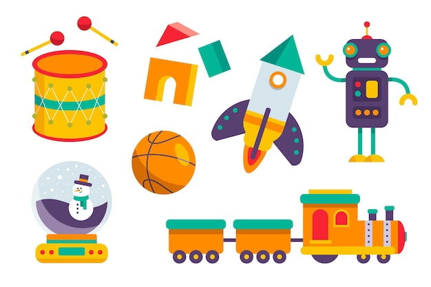 Collection de jouets de noël design plat
