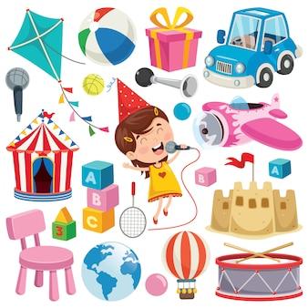 Collection de jouets et objets colorés