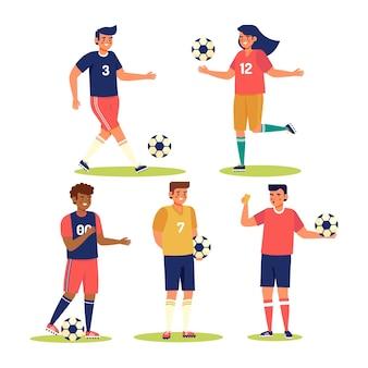 Collection de joueurs de football design plat