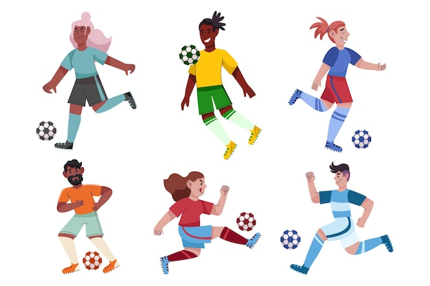 Collection de joueurs de football de dessin animé
