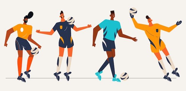 Collection de joueurs de football sud-américains plats