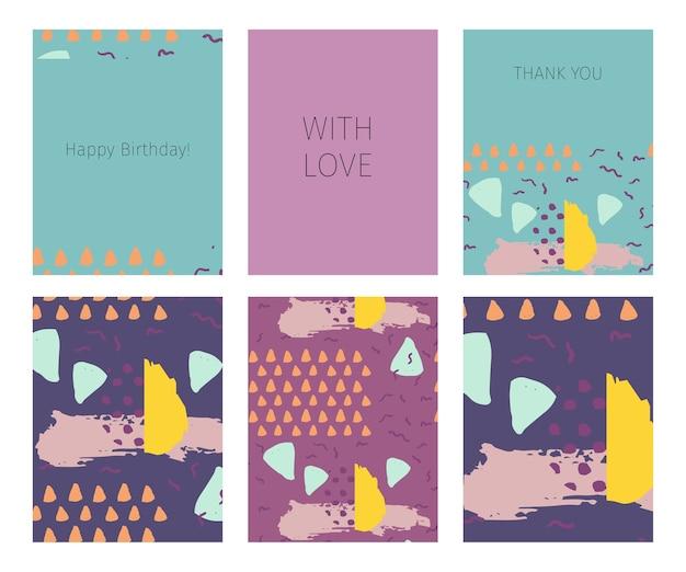 Collection de joyeux anniversaire, avec amour, cartes de remerciement