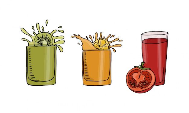 Collection de jus de boissons, jus de kiwi, d'orange et de tomate