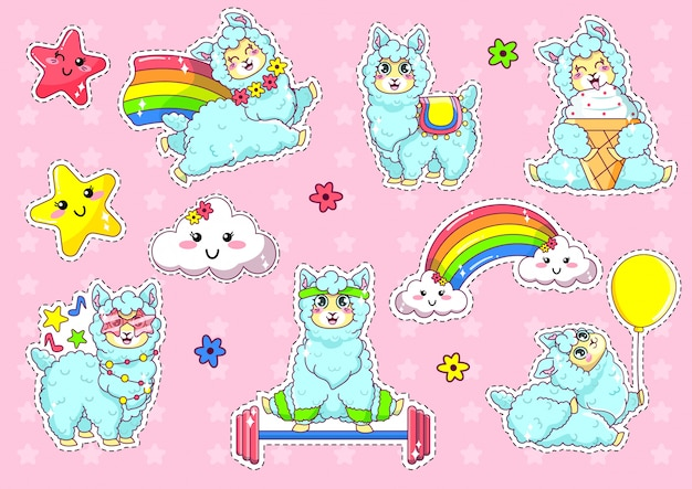 Collection kawaii cute llama alpaca set stickers.
