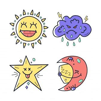 Collection de kawaii mignons dessinés à la main avec des personnages
