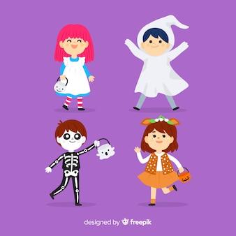 Collection de kid halloween dessinés à la main sur fond violet