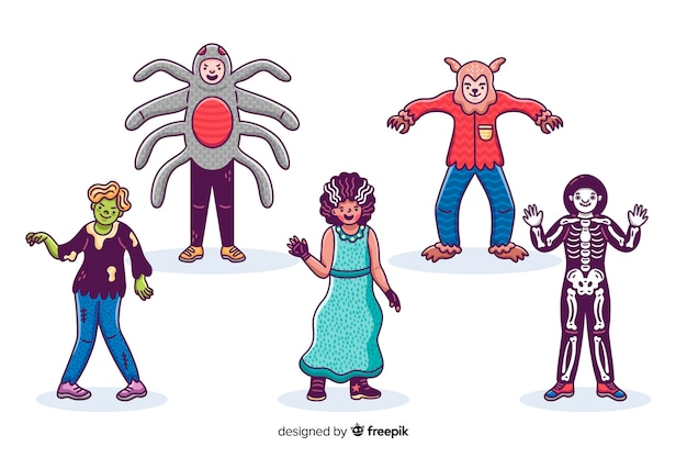 Collection de kid halloween dessinés à la main sur une surface blanche