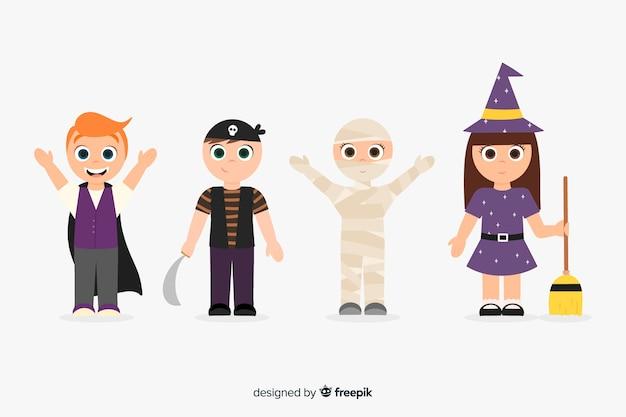 Collection de kid halloween dessinés à la main