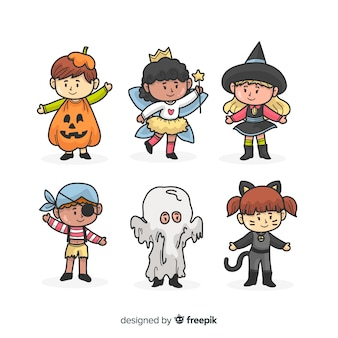 Collection de kid halloween dessinés à la main