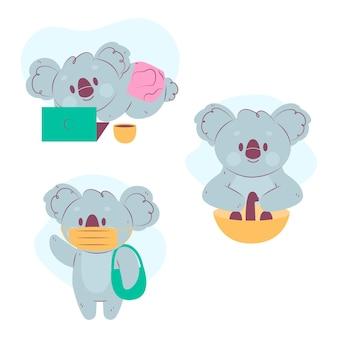 Collection de koalas mignons à l'époque des coronavirus