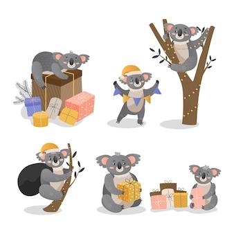 Collection de koalas de noël.