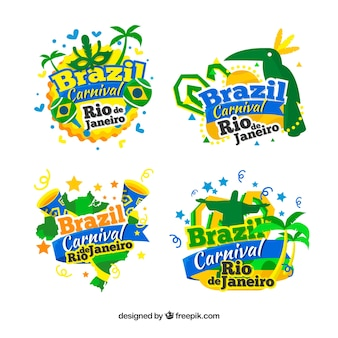 Collection de label / badge plat brésilien de carnaval
