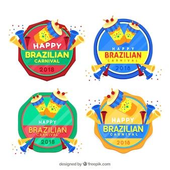 Collection de label / badge plat brésilien de carnaval