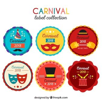 Collection de label / badge plat carnaval