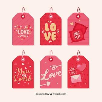 Collection de label / badge valentin dessinés à la main