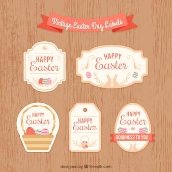 Collection de label / badge vintage de pâques