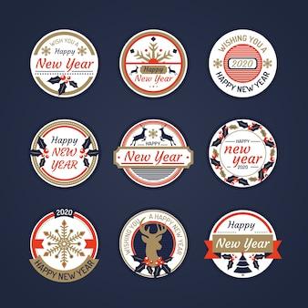 Collection de label dessiné à la main nouvel an 2020