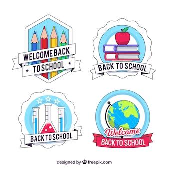 Collection de labels créatifs de retour à l'école