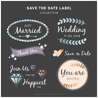 Collection de labels de mariage plat avec style moderne