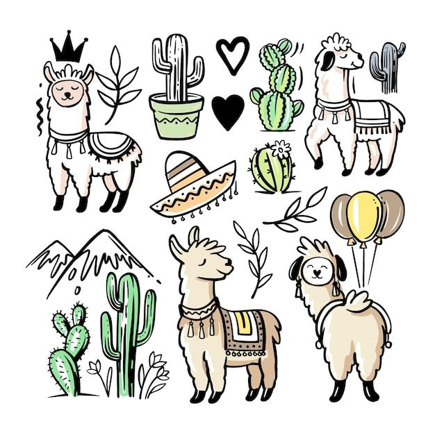 Collection de lama et d'alpaga d'illustrations mignonnes dessinées à la main.