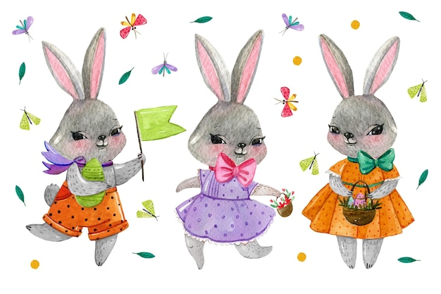 Collection de lapin de pâques aquarelle