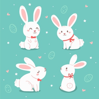Collection de lapin de pâques dessinés à la main