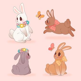 Collection de lapin de pâques dessinés à la main