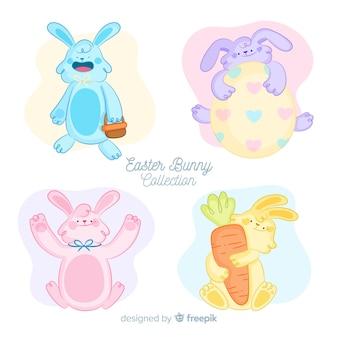 Collection de lapin de pâques mignon de couleur pastel