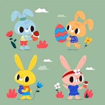 Collection de lapin de pâques mignon