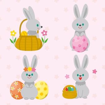 Collection de lapin de pâques plat